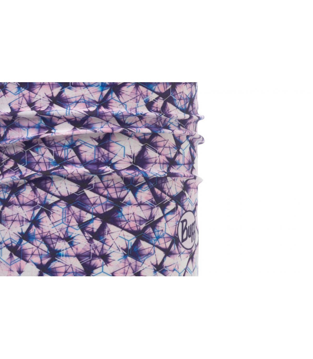 Buff imprimé violet blanc