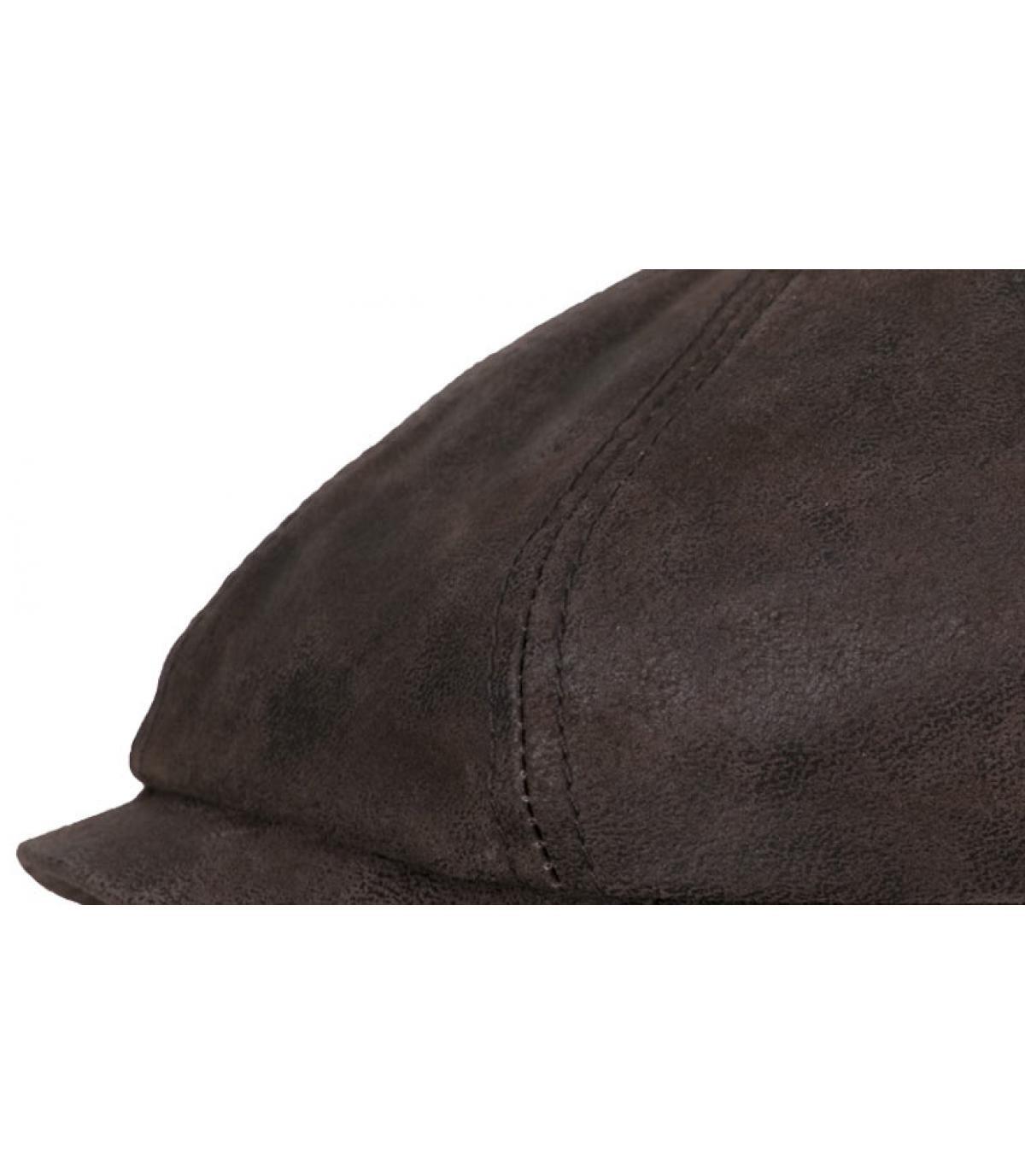 casquette cuir brun
