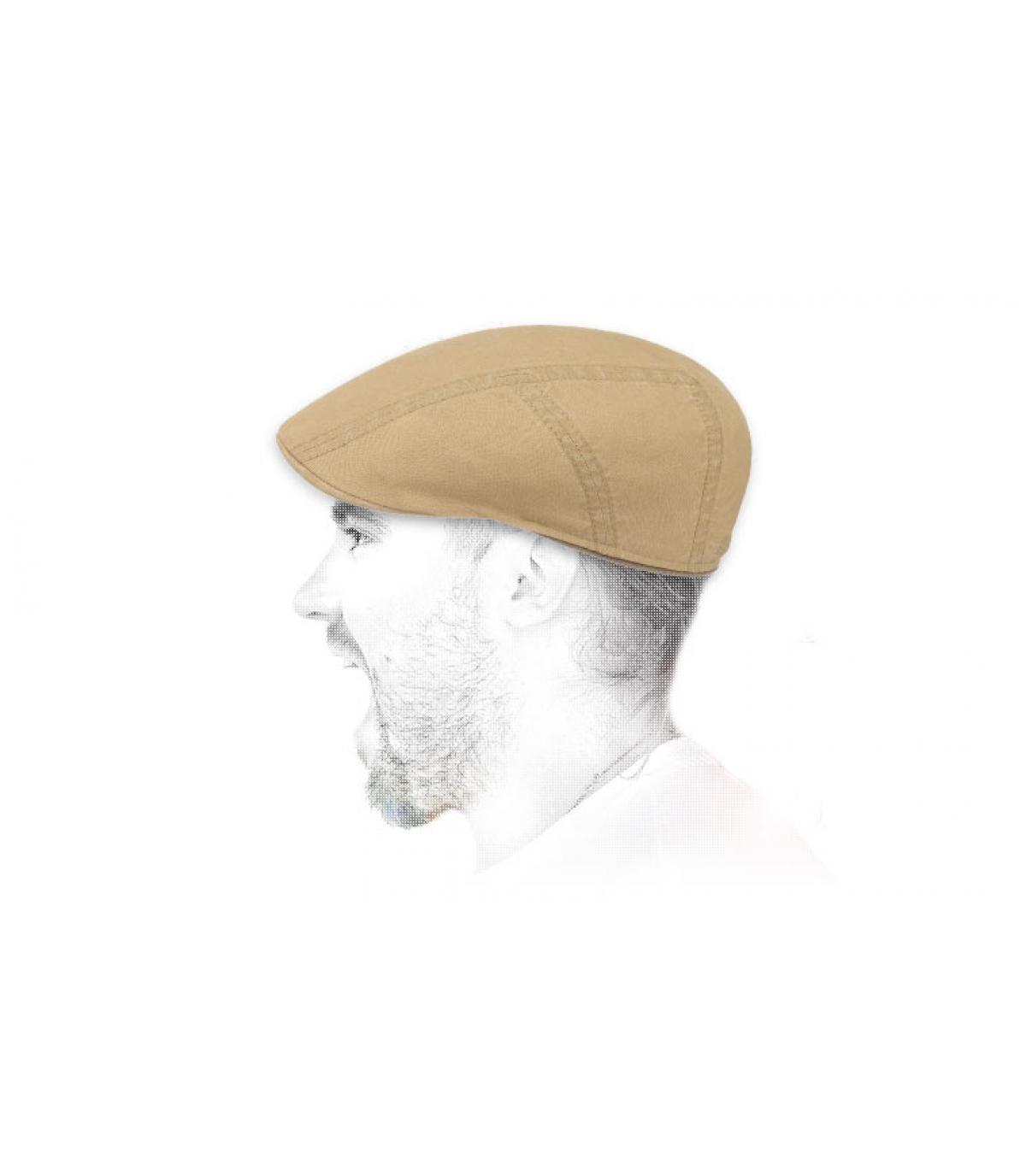 béret beige coton lin