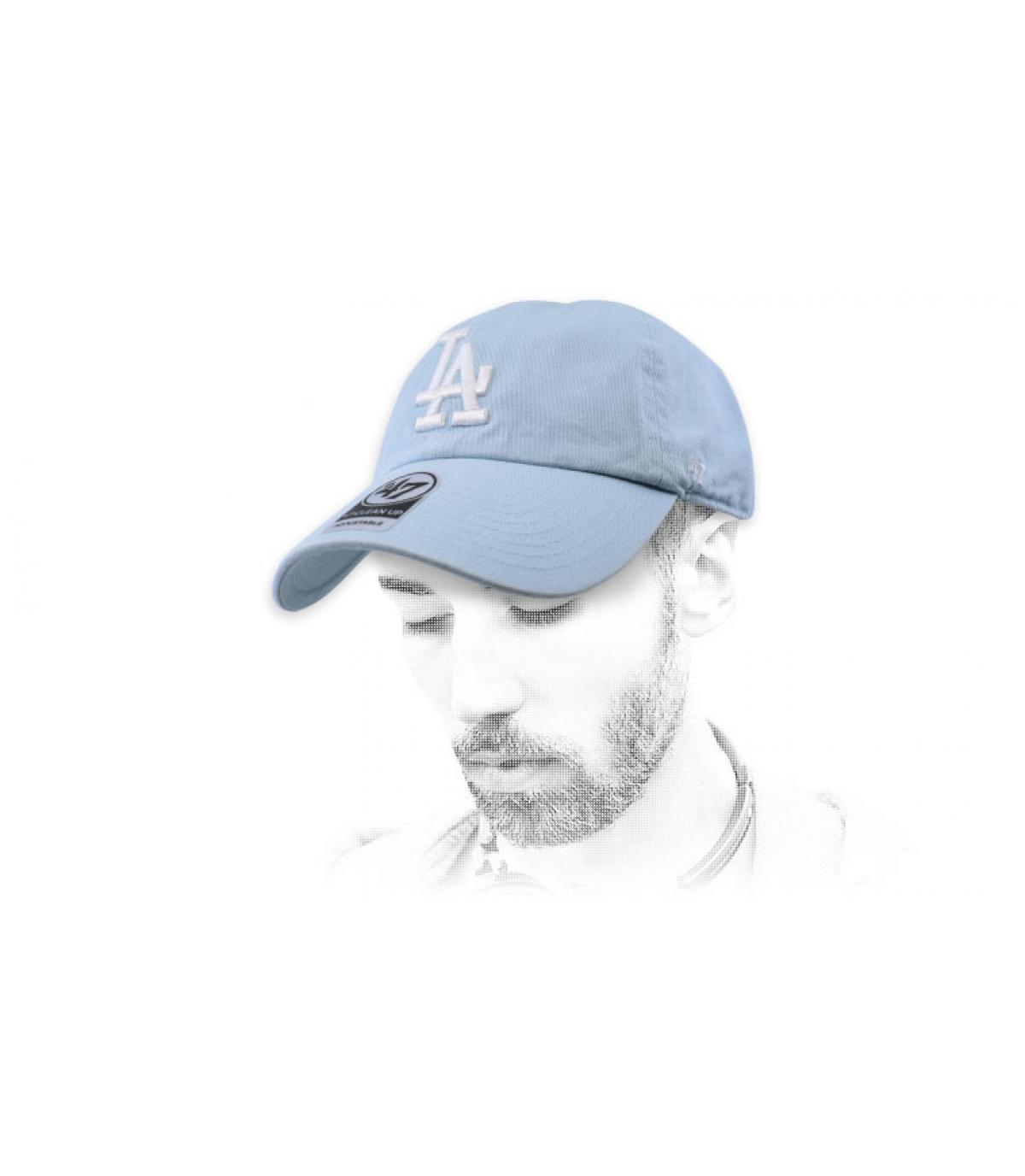 casquette LA bleu ciel