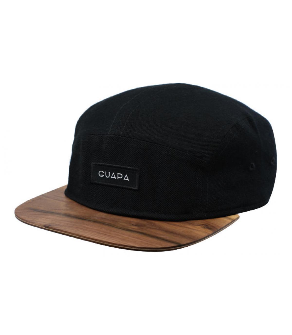 casquette 5 panel noir bois