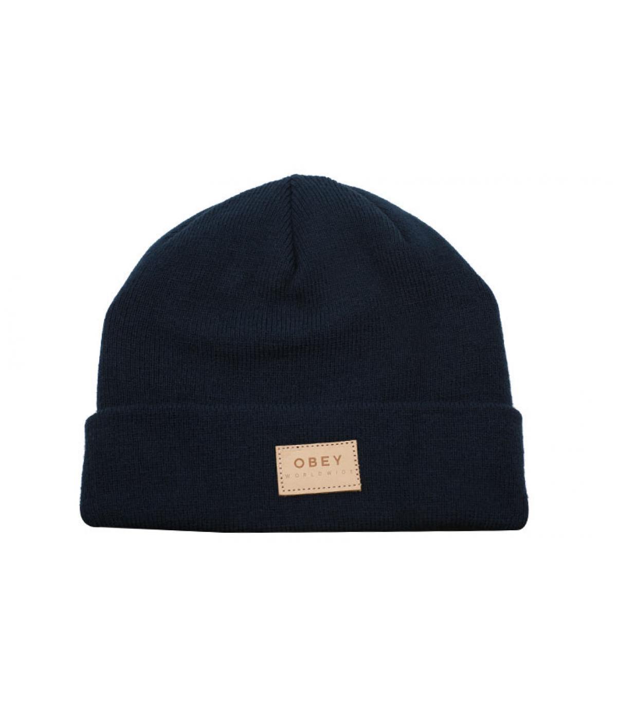 bonnet revers bleu Obey