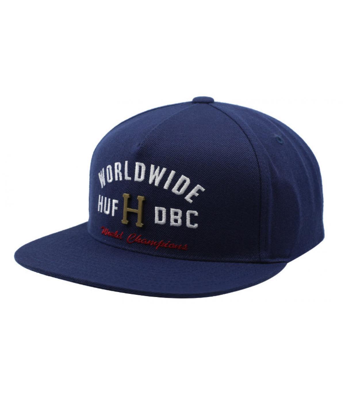 casquette Huf bleu logo métal