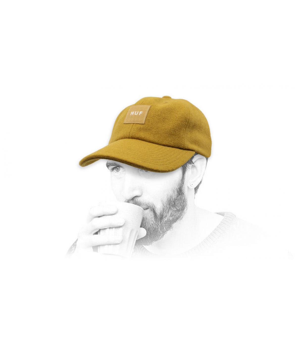 casquette laine Melton Huf jaune