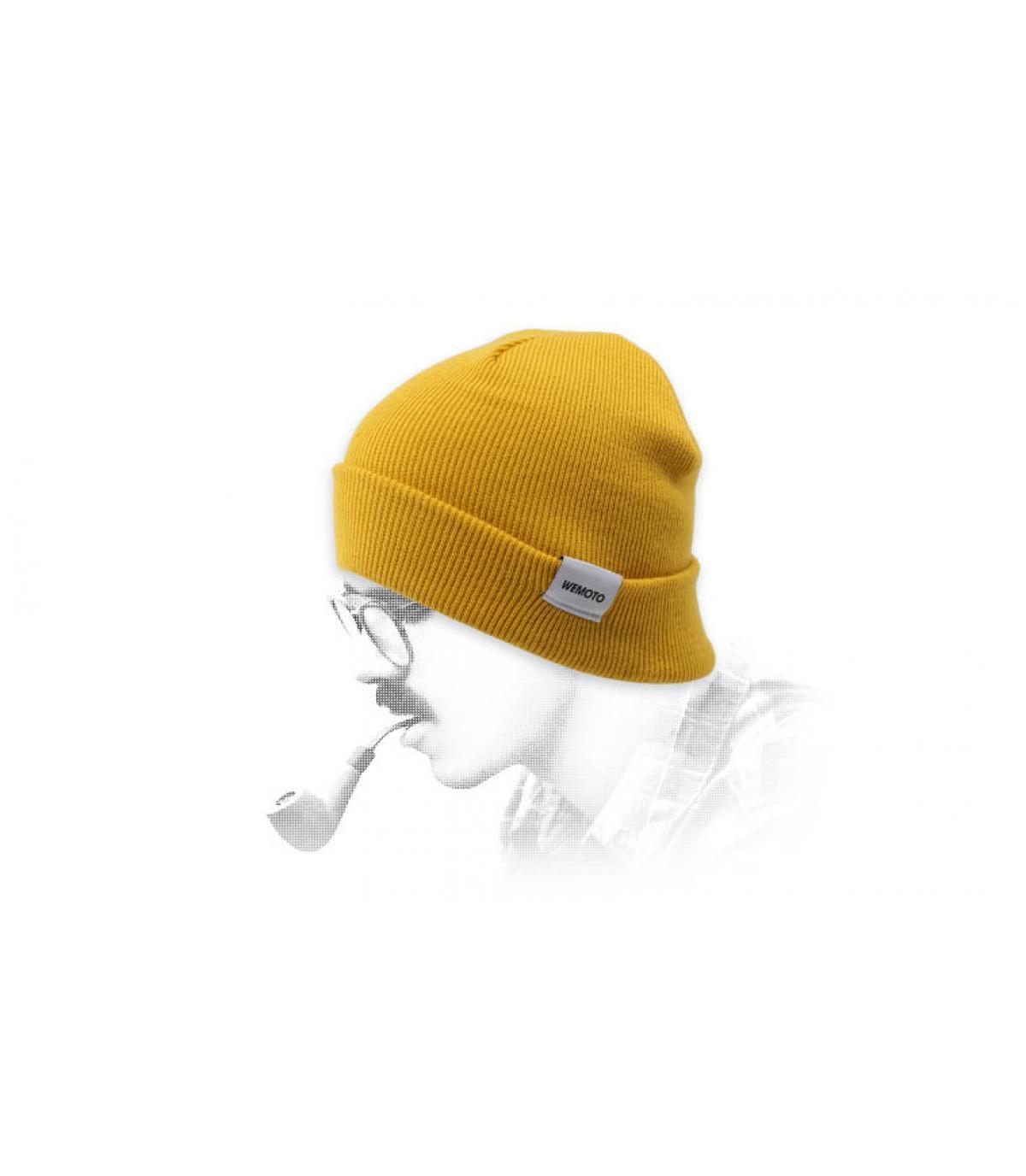 bonnet revers jaune Wemoto