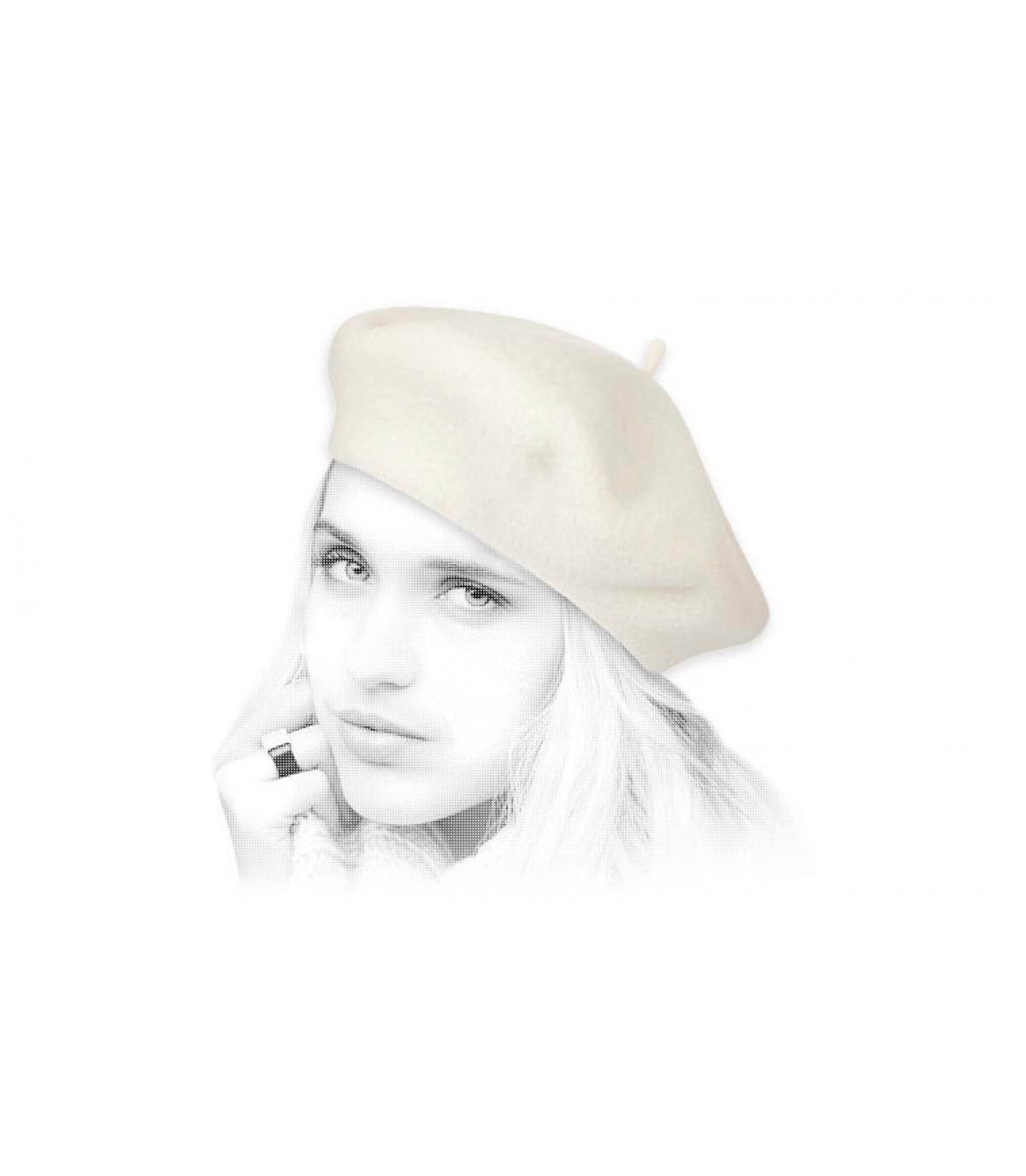 Beret femme beige