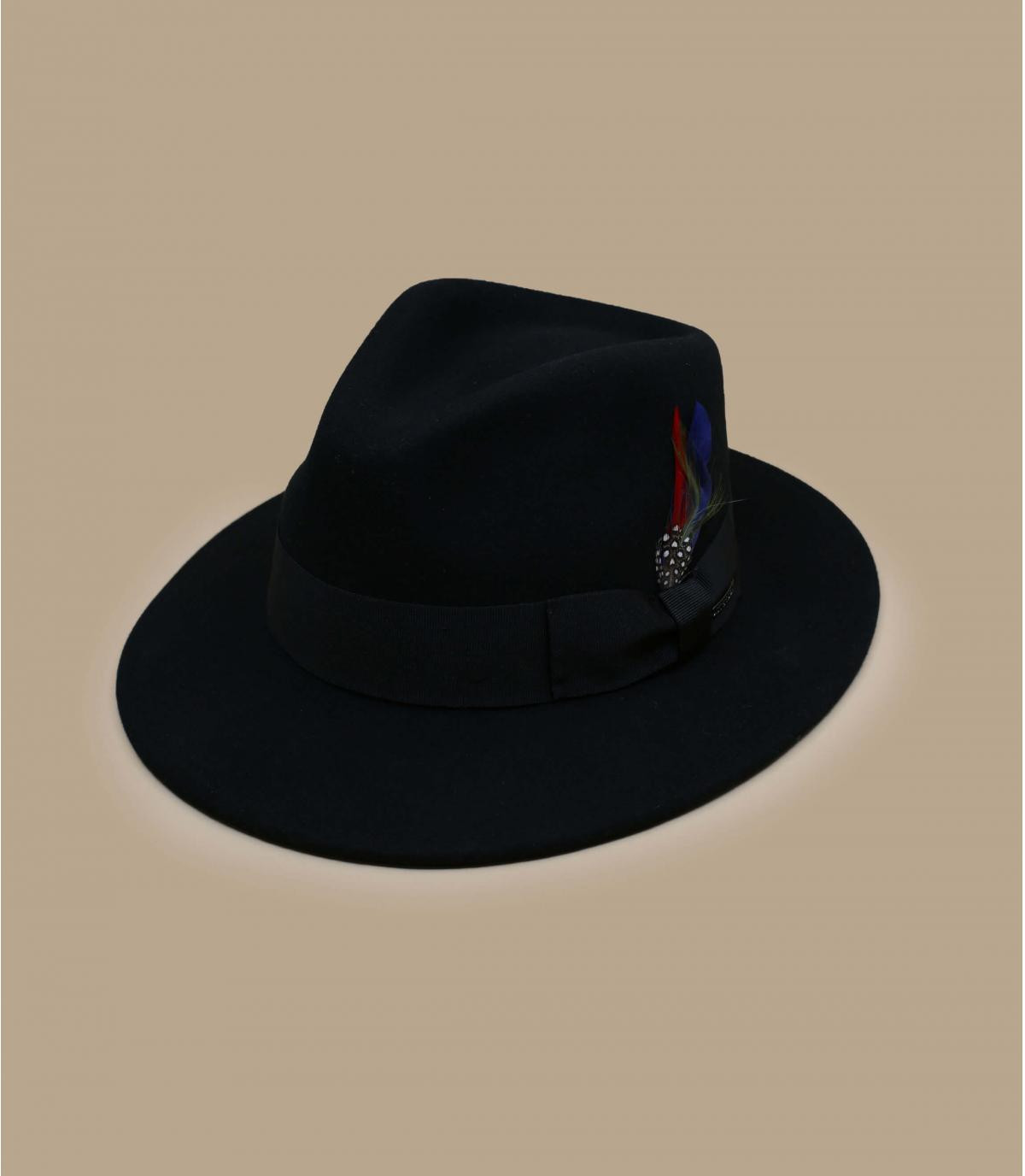 fedora noir laine cachemire