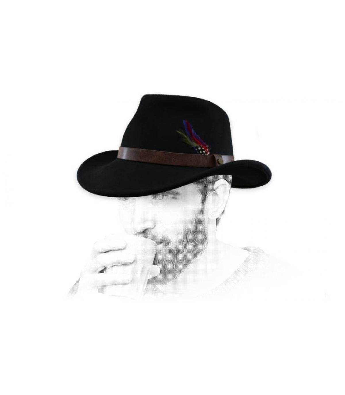 chapeau cowboy noir feutre