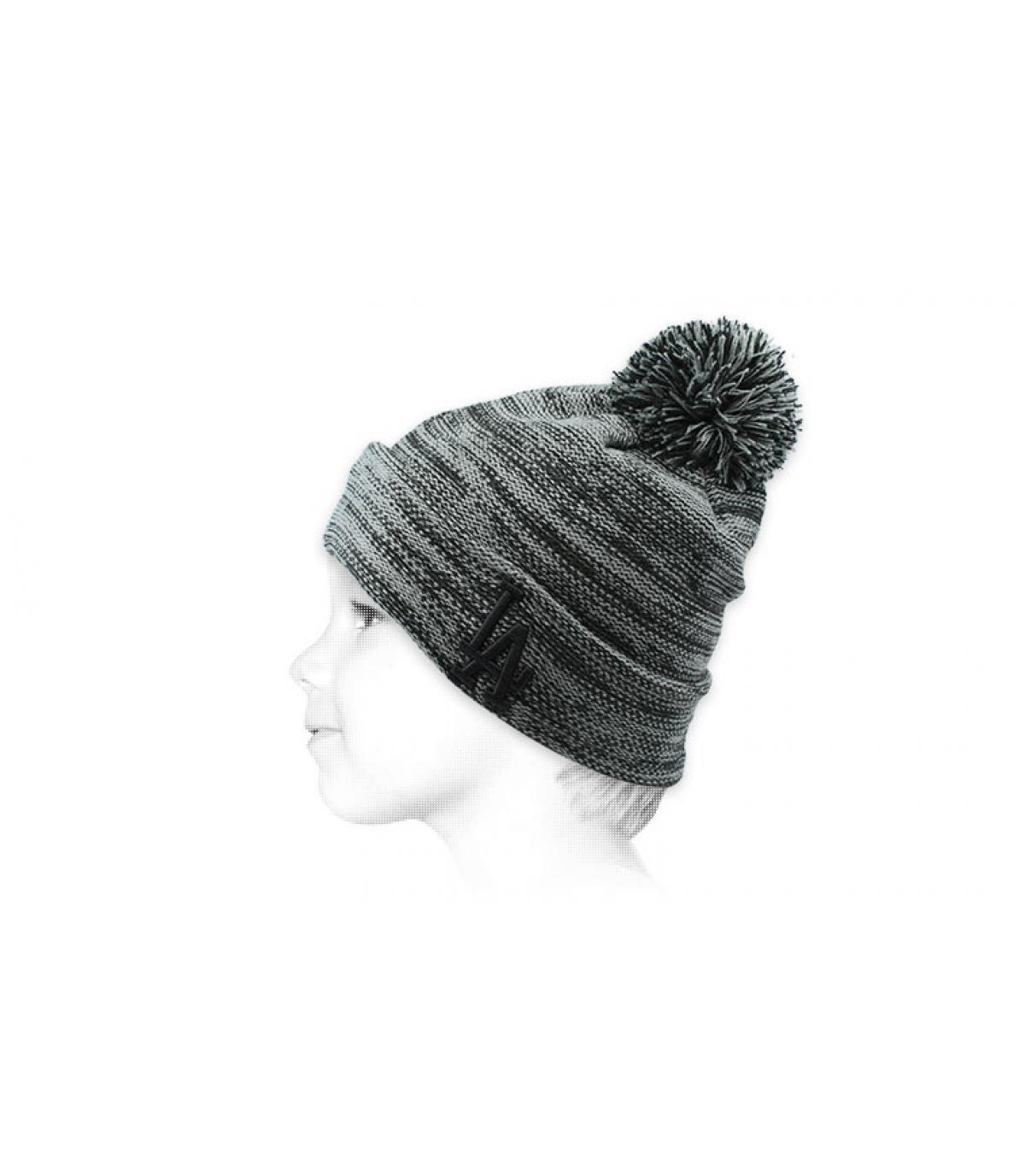 bonnet pompon LA gris