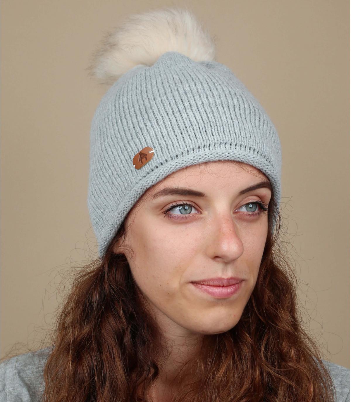 bonnet pompons interchangeables gris