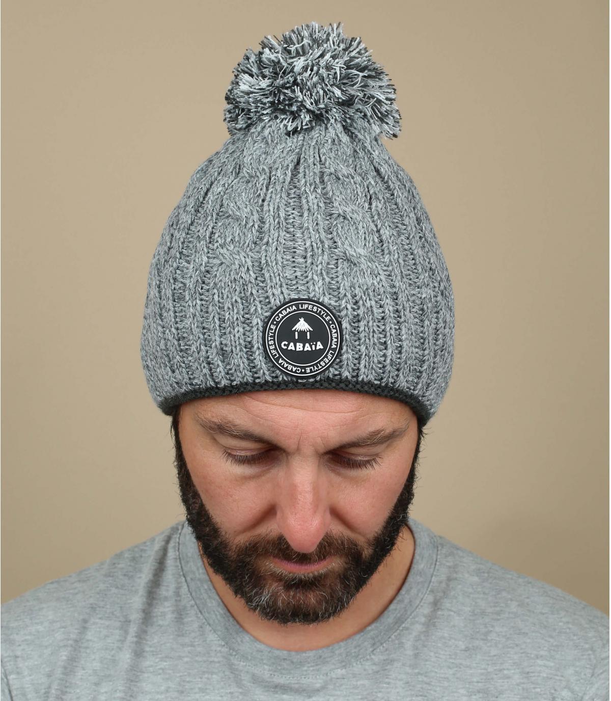 bonnet pompon gris torsades
