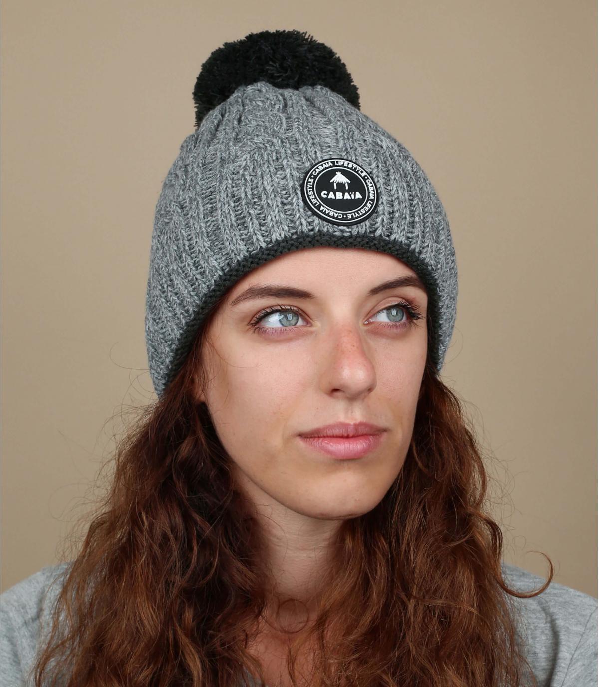 bonnet femme gris torsades