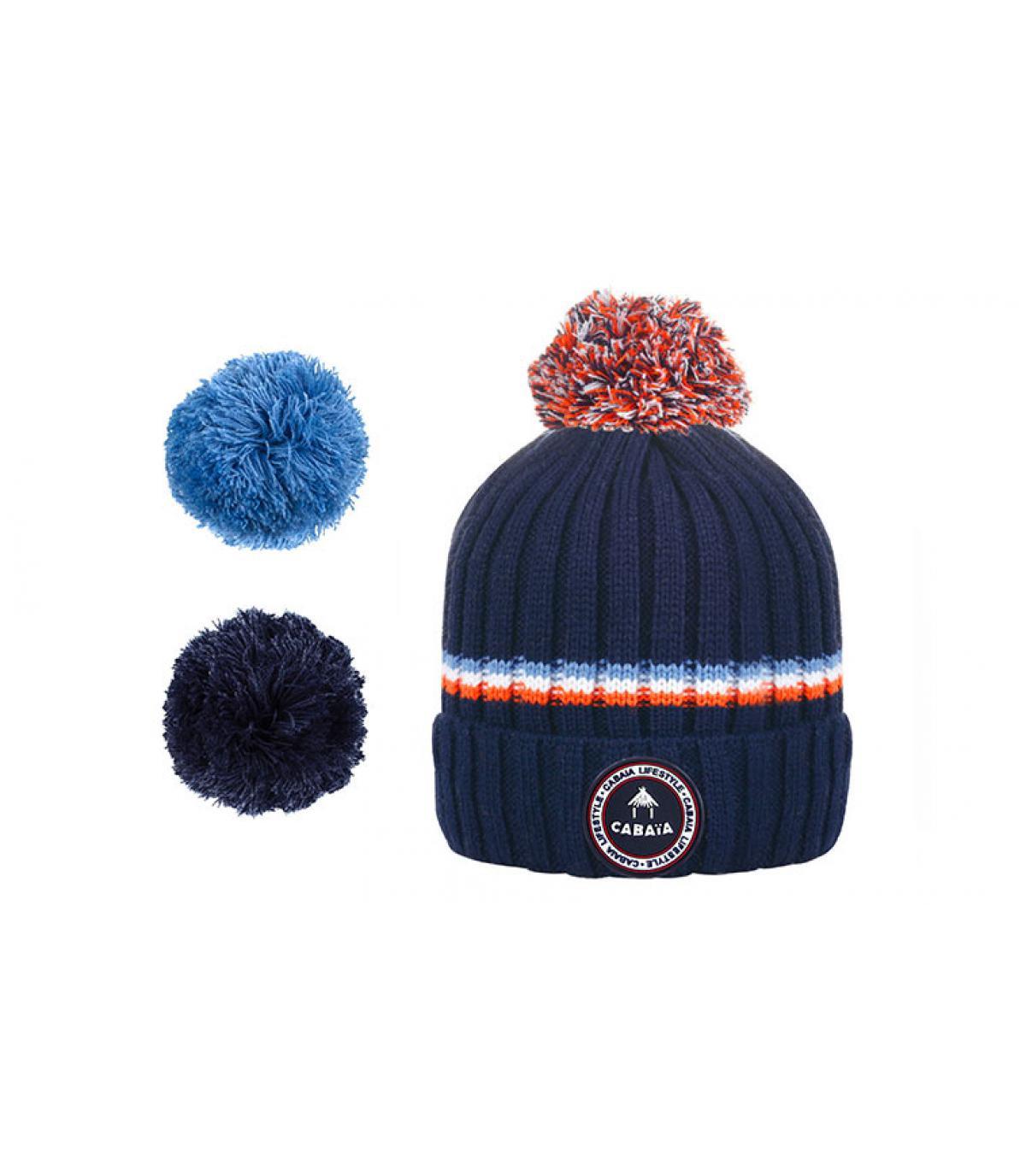 bonnet bleu rayure pompons