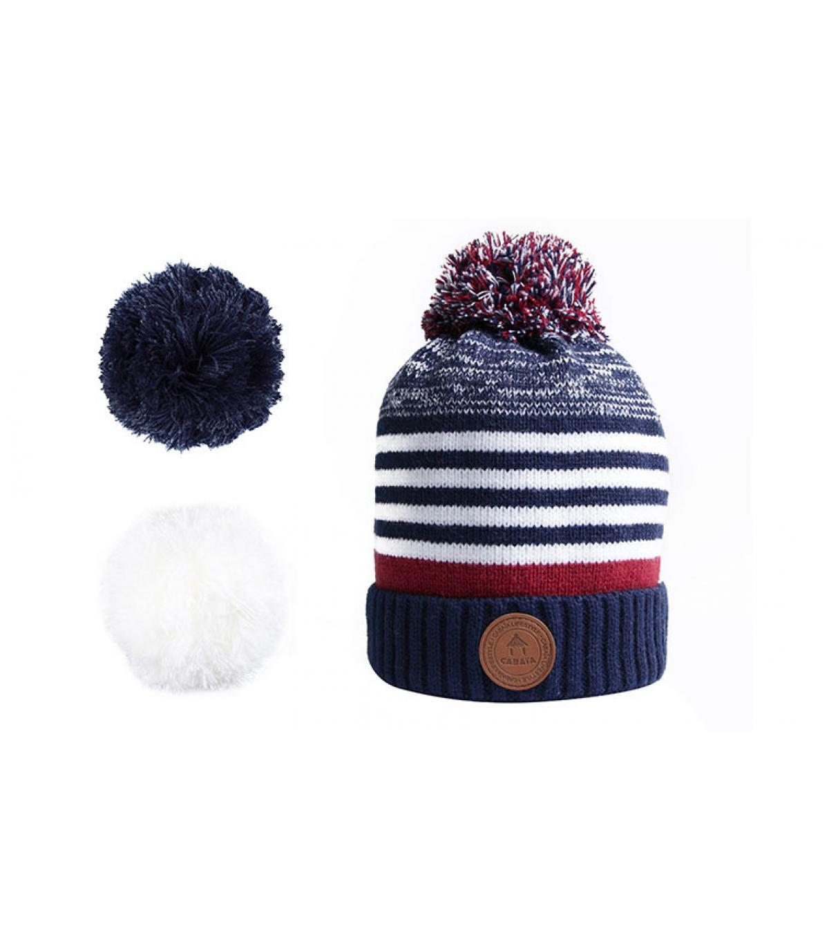 bonnet rayures bleu pompons