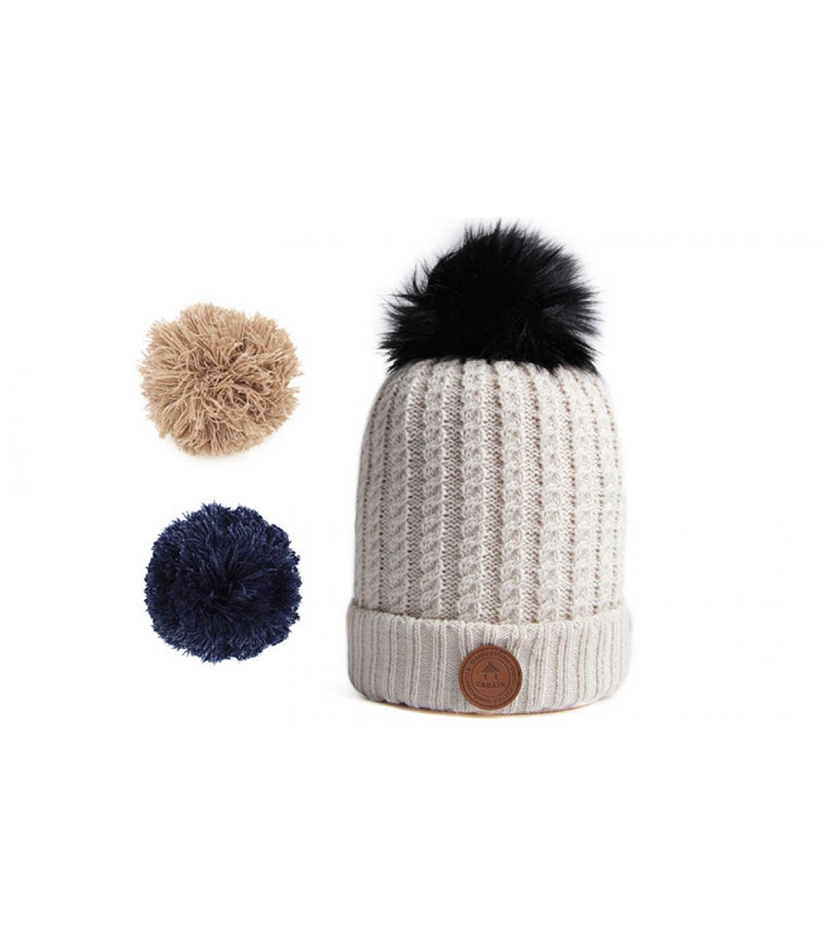 bonnet beige pompon interchangeable