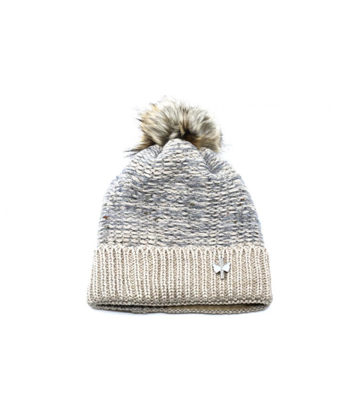 bonnet beige laine fourrure