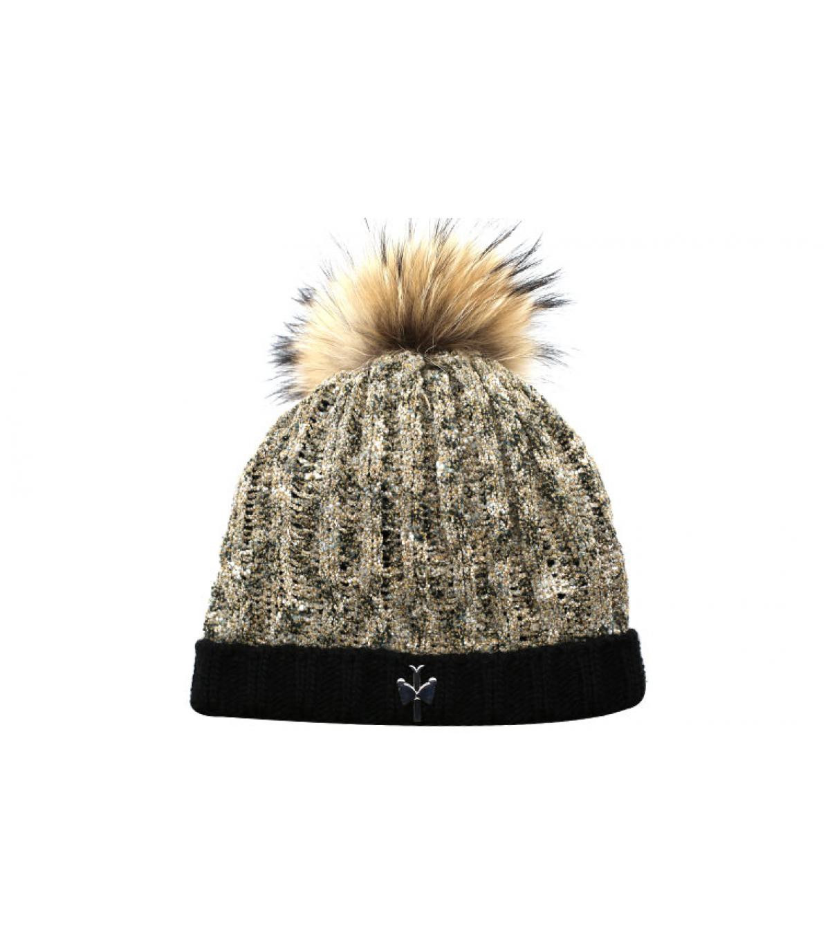 bonnet laine beige noir