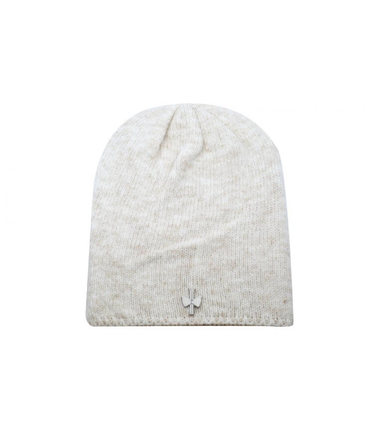 bonnet long beige laine