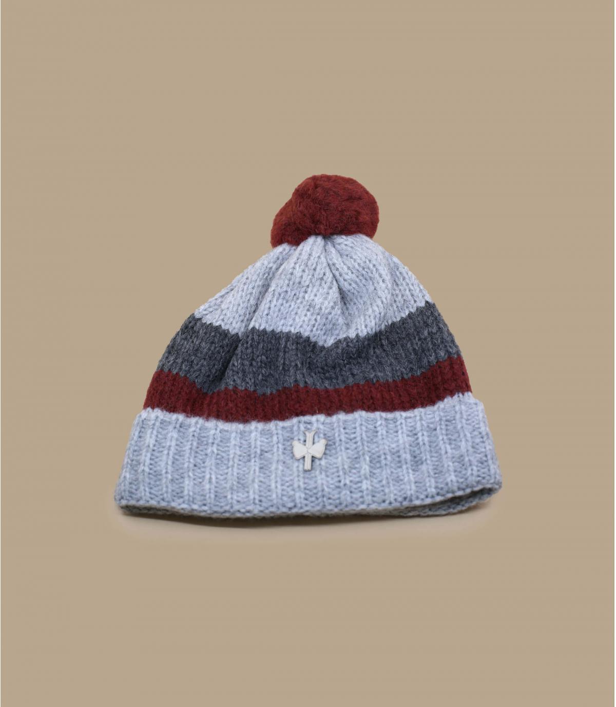 bonnet pompon laine gris