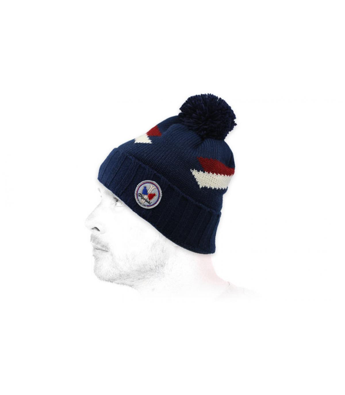 bonnet pompon bleu marine