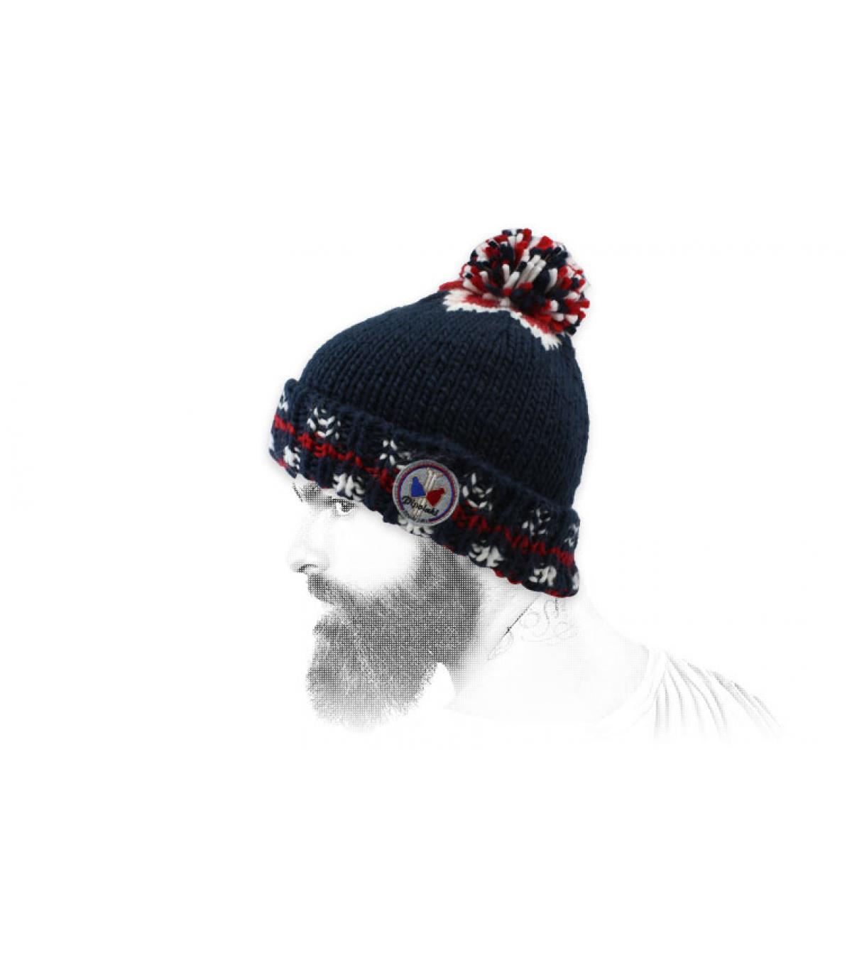 bonnet pompon bleu rétro