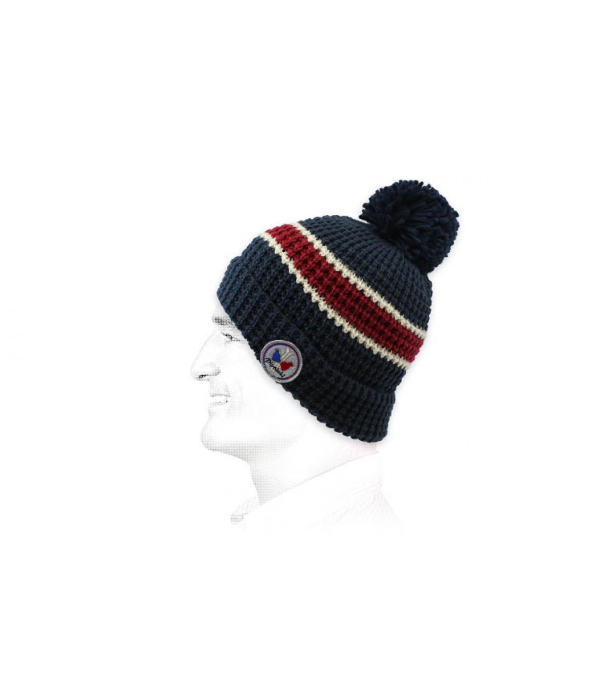 bonnet rayure bleu rouge