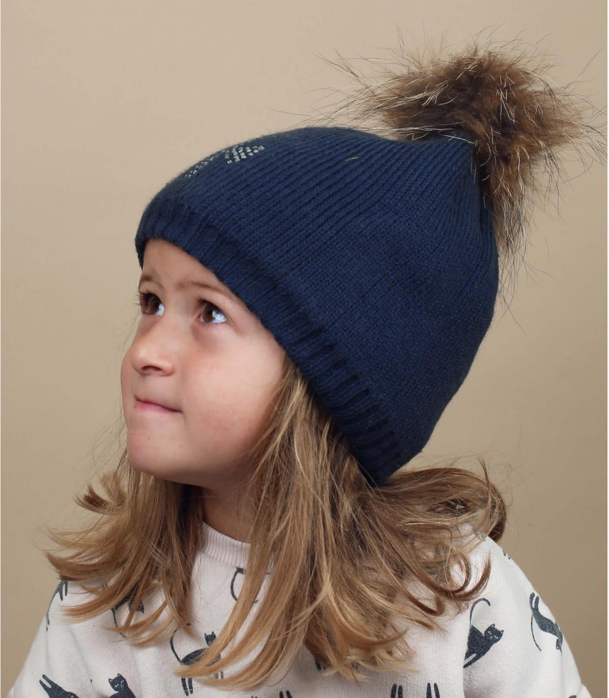 bonnet enfant marine pompon fourrure
