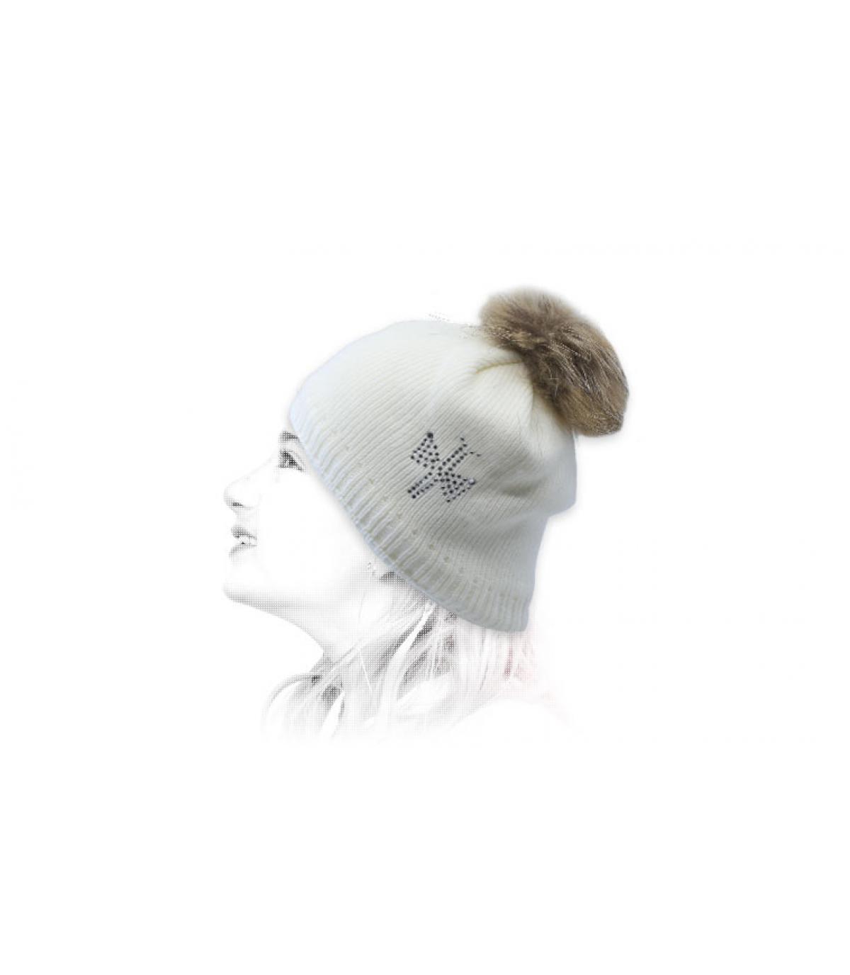 bonnet enfant blanc pompon fourrure
