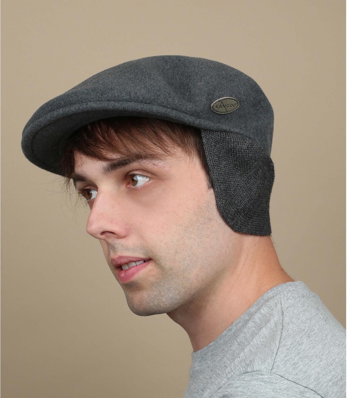 béret gris protège oreilles