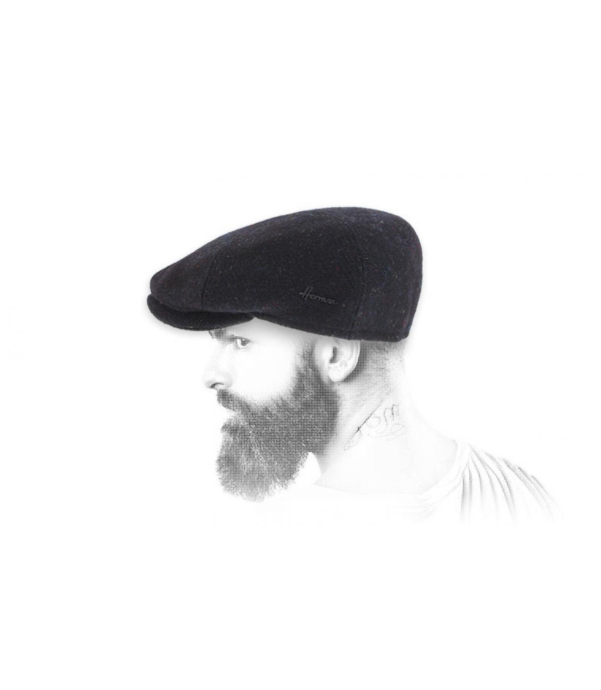 béret noir tweed Herman