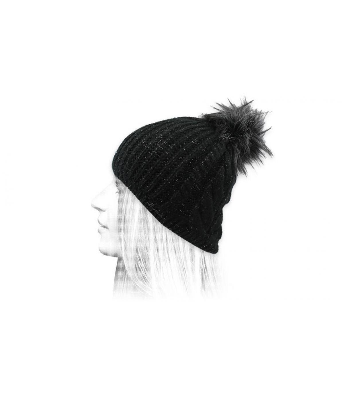 bonnet noir pompon lurex
