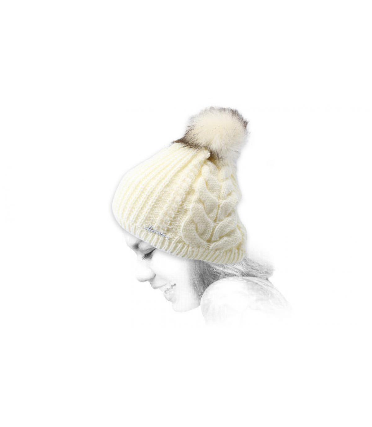 bonnet pompon blanc lurex