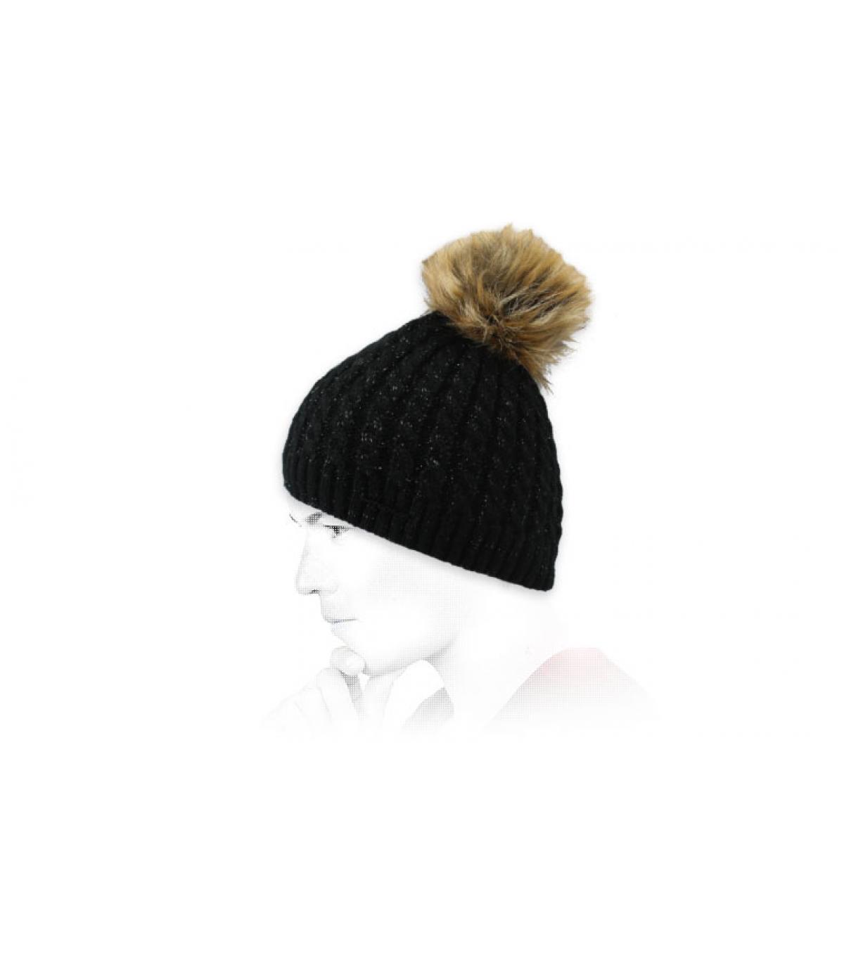 bonnet pompon fourrure noir