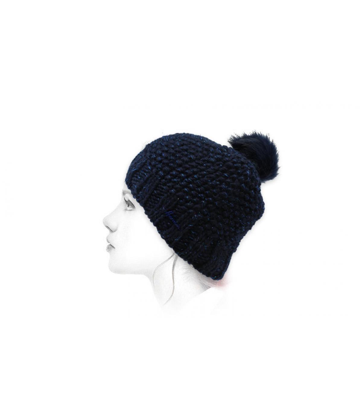 bonnet pompon lurex bleu