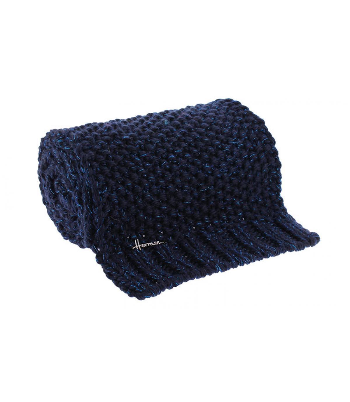 écharpe bleu laine lurex