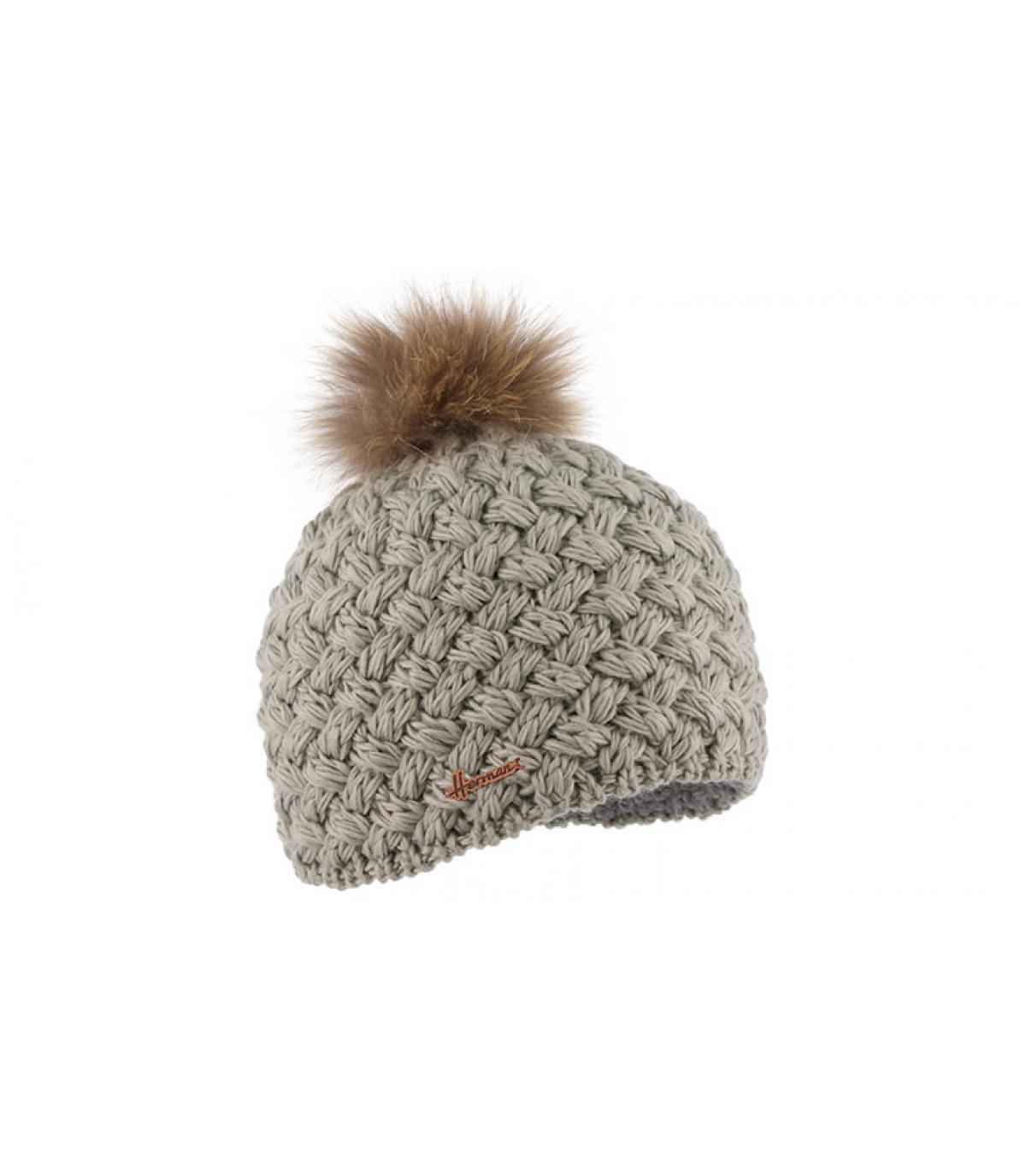 bonnet laine gris fourrure