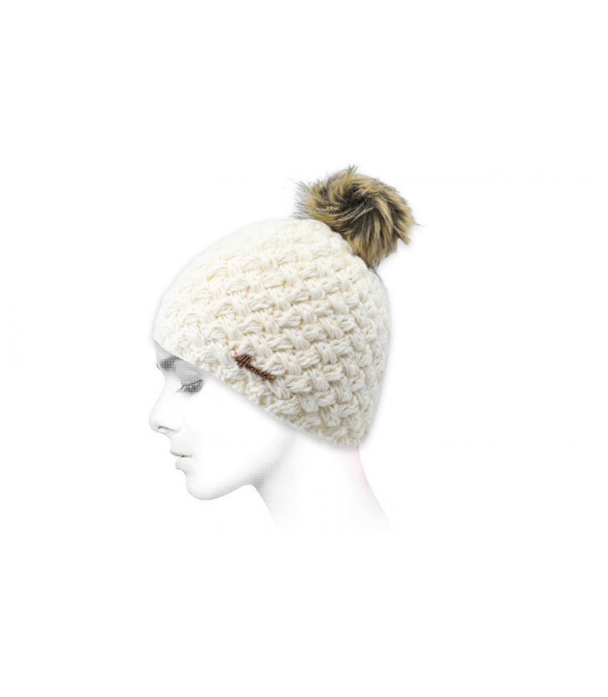 bonnet laine blanc fourrure