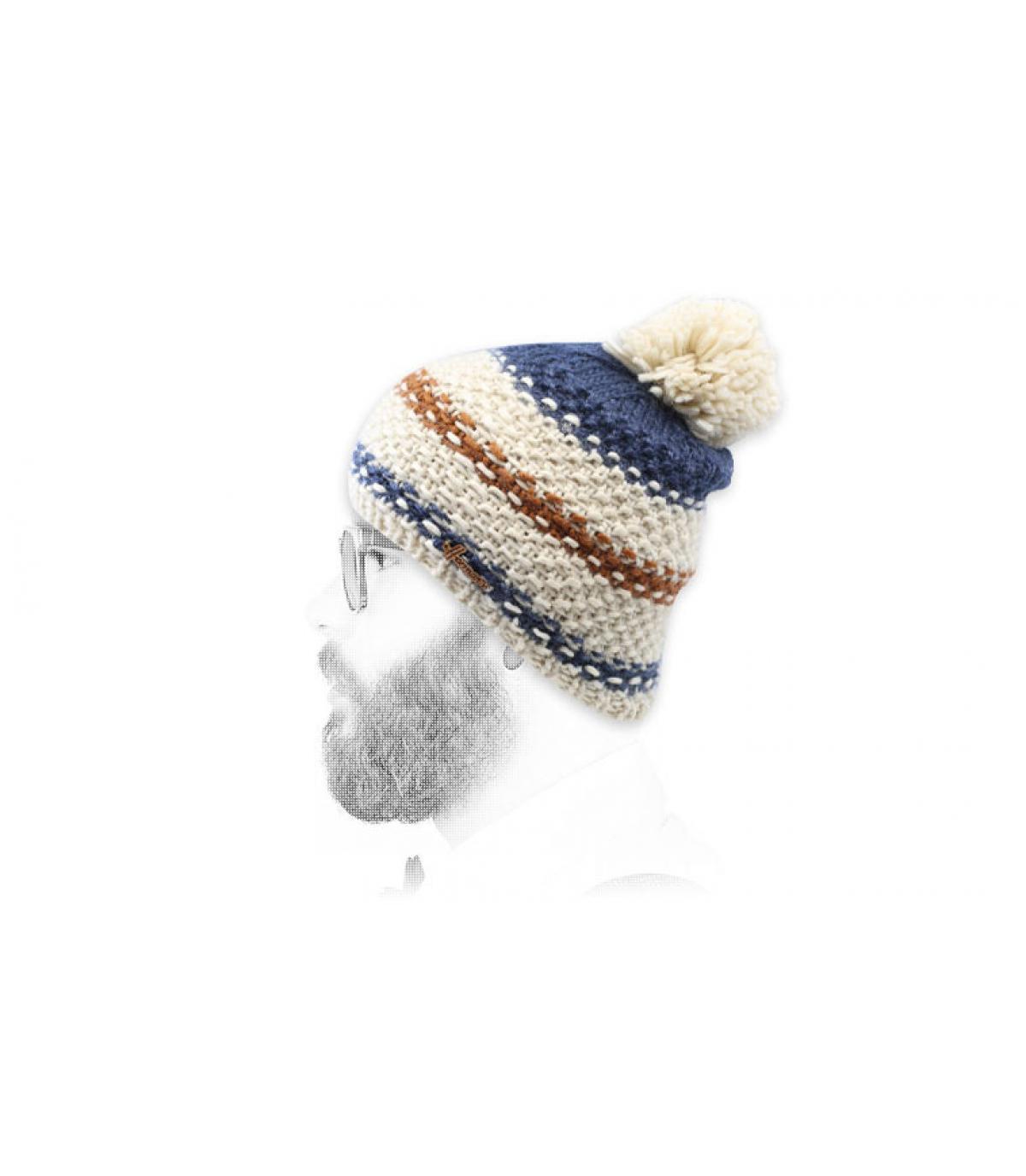 bonnet pompon rayures beige bleu