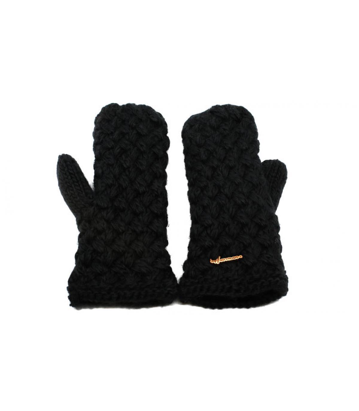 moufles noir laine
