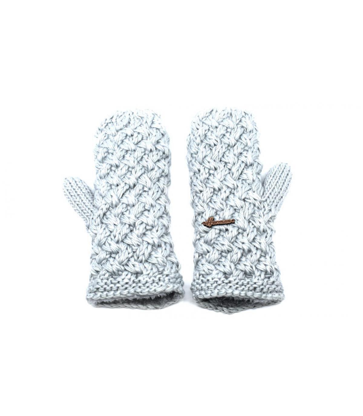 moufles beige laine