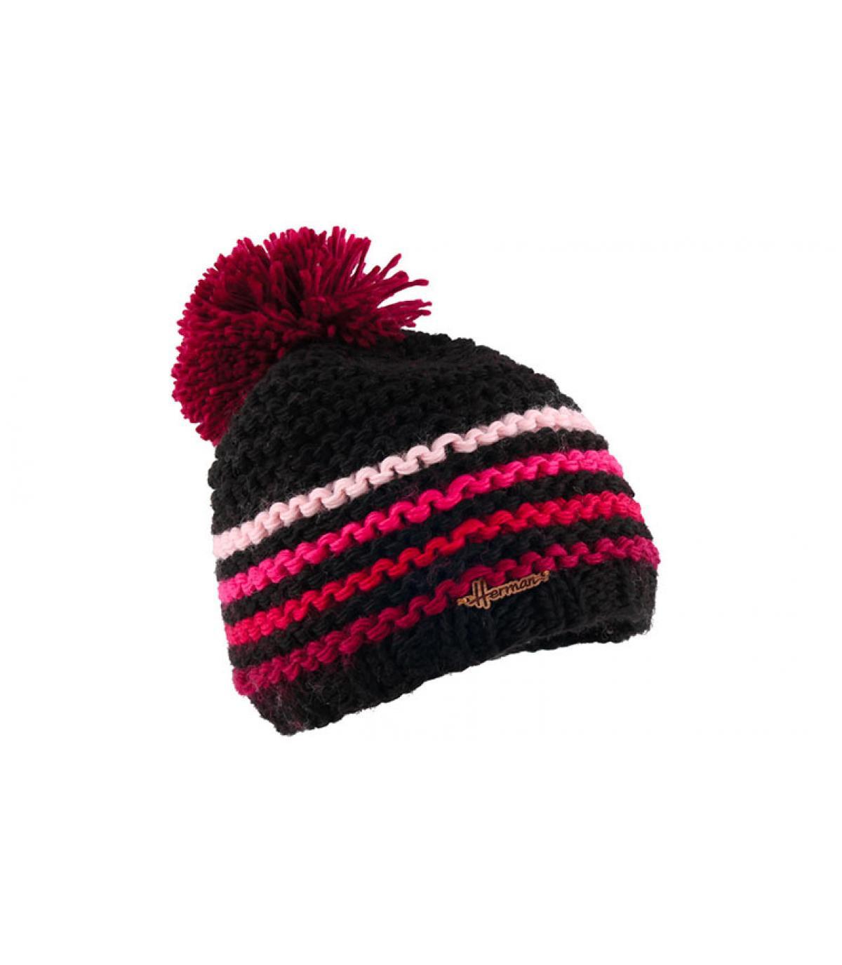 bonnet pompon noir rose