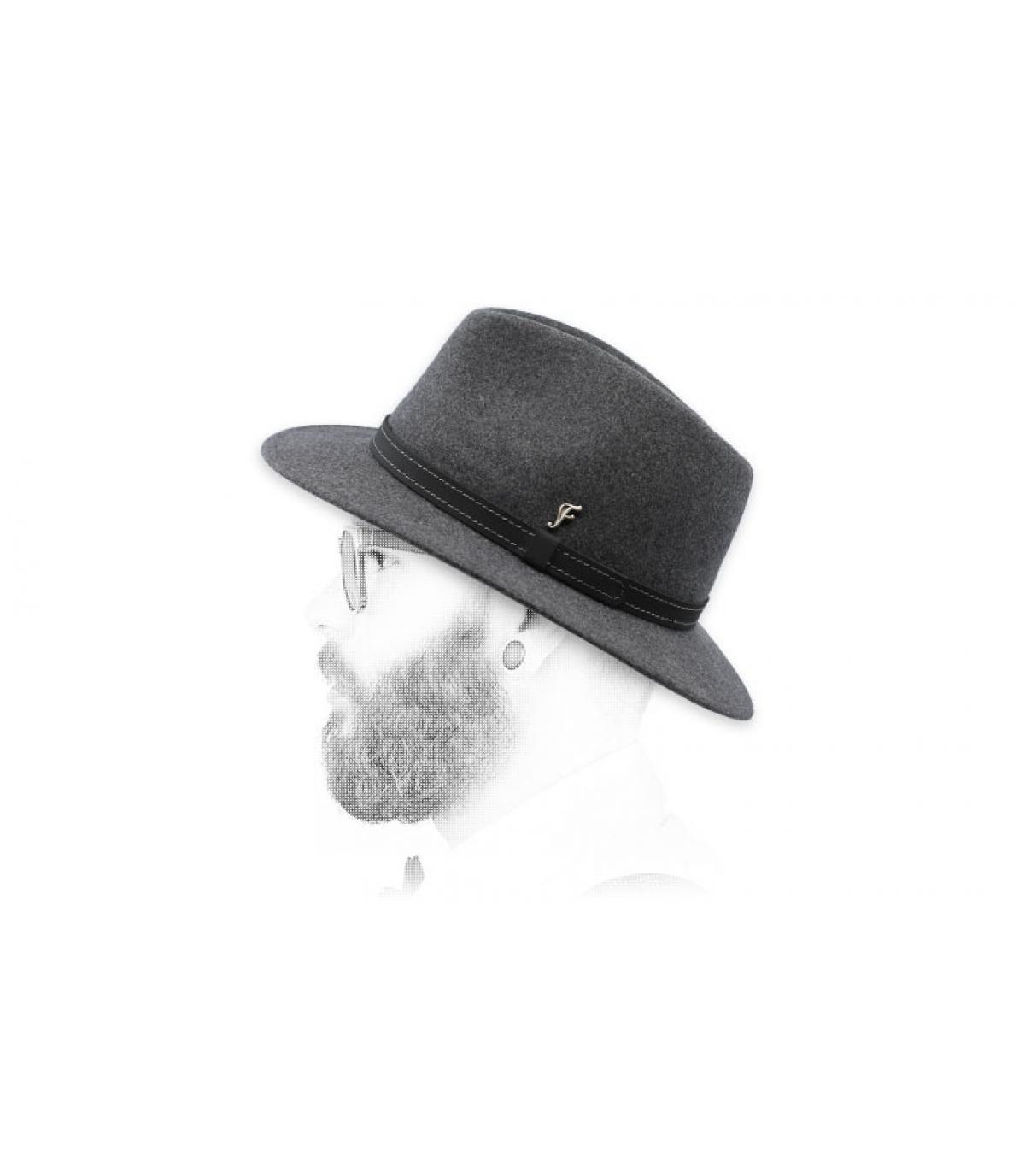 fédora gris chiné laine