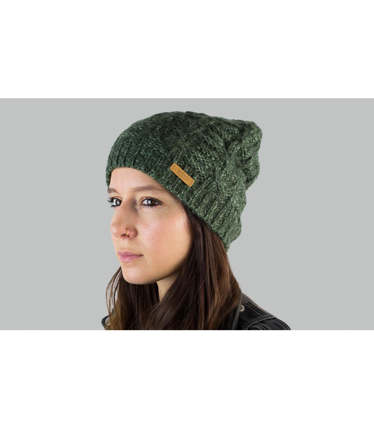 bonnet torsade long vert