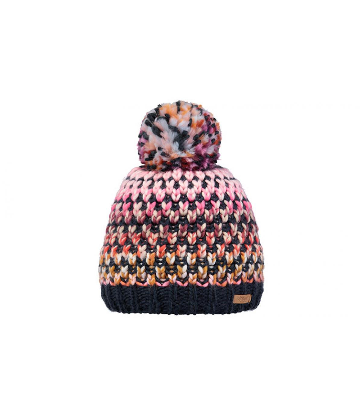 bonnet pompon rayures bleu rose