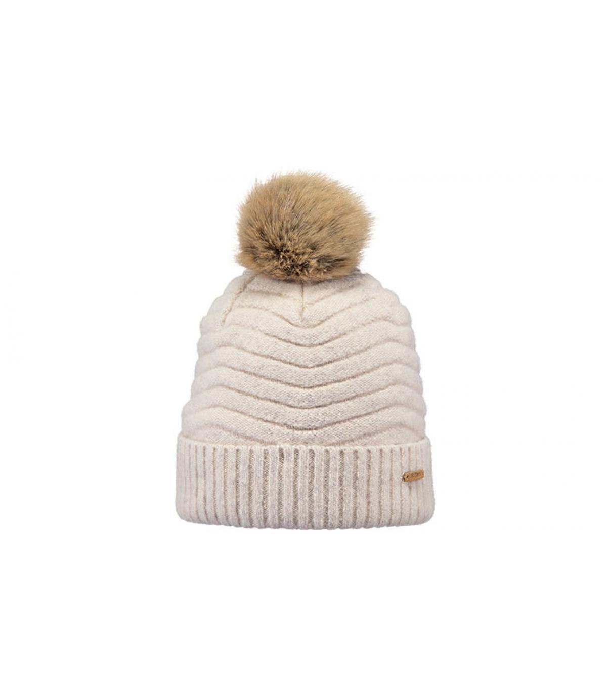 bonnet pompon fourrure beige