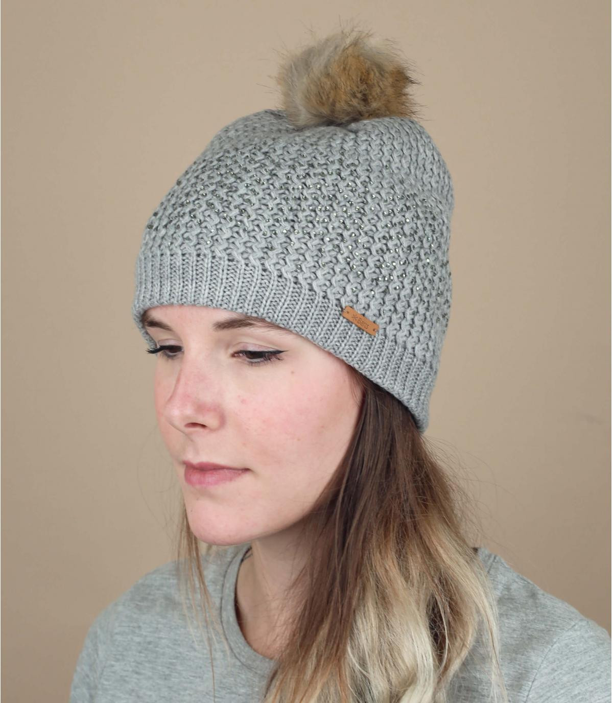 bonnet pompon fourrure gris chiné
