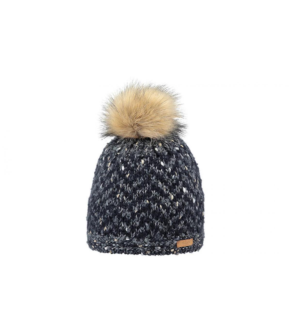 bonnet chevron bleu pompon fourrure