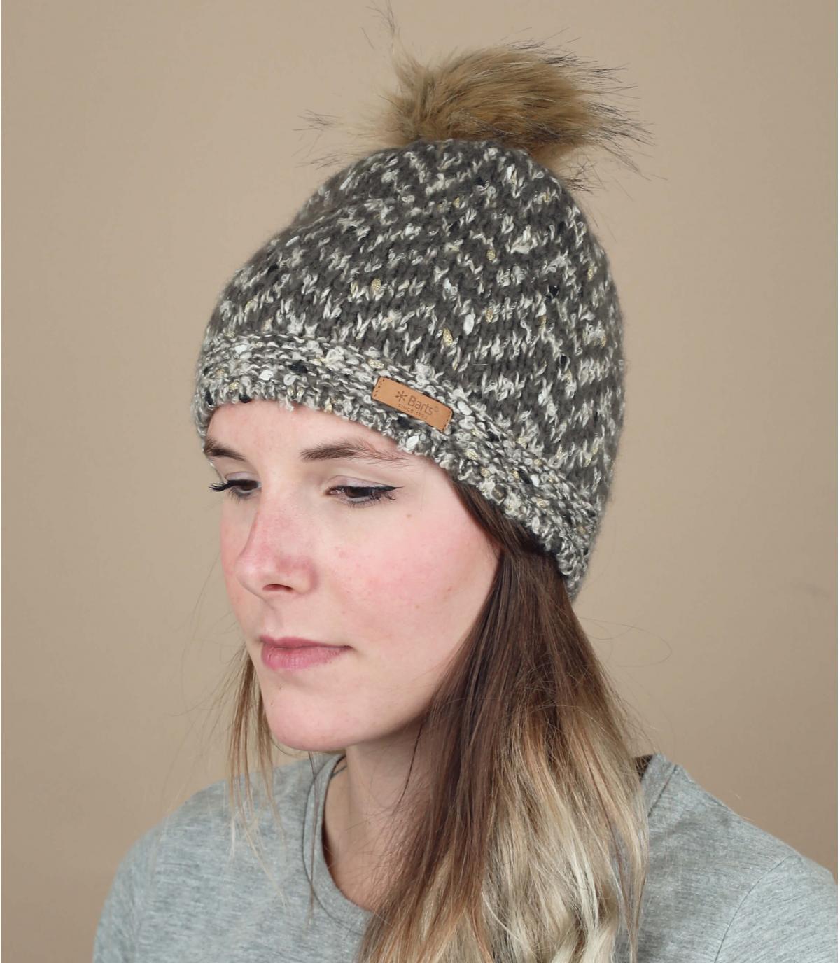 bonnet chevron gris pompon fourrure