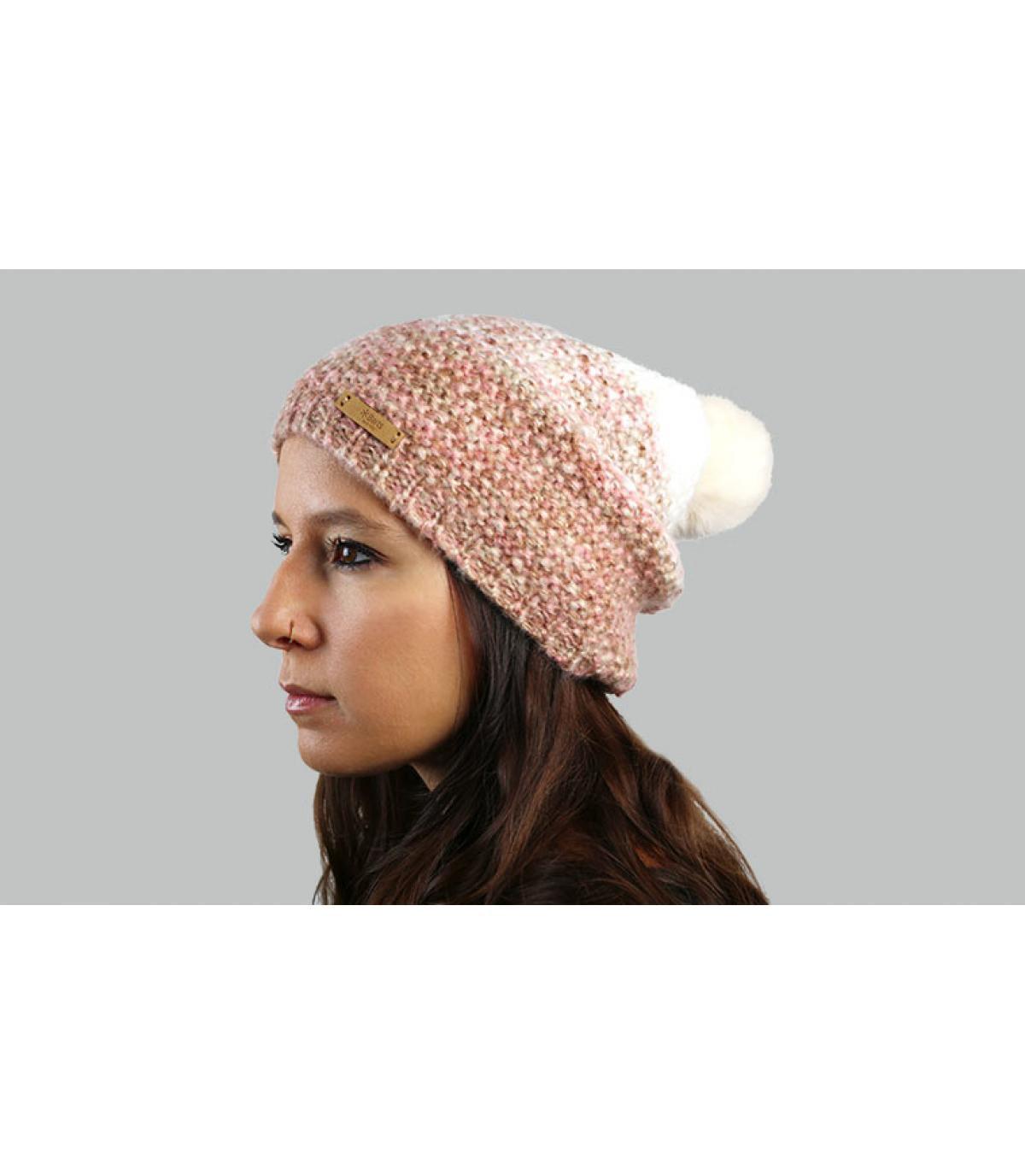 bonnet long dégradé rose