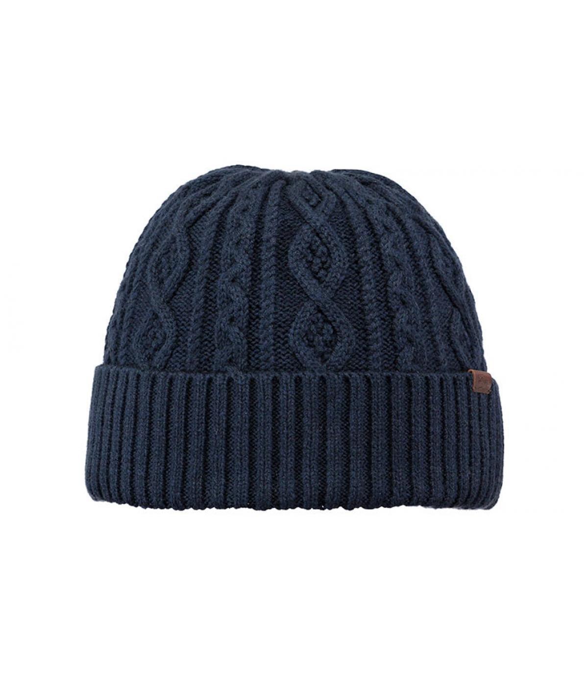 bonnet bleu marine revers torsade